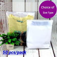 50 Clear White Plastic Packaging Zipper Bags Reclosable For Clothes Underwear W