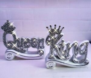 KING Queen Diamond Crush Silver Mirrored Decorative Crown Table Crystal Ornament