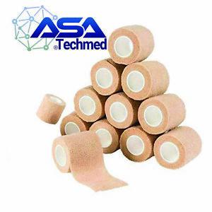 "12 Pack Self Adherent Bandage Wrap, Elastic Adhesive Gauze Roll, 2"" x 5 Yards"