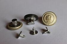 5 Jeansknöpfe / Patentknöpfe - Wappen / Krone - creme / gold, ca. 17 mm