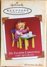 NIB 2004 HALLMARK ORNAMENT MY FOURTH CHRISTMAS CHILD'S AGE COLLECTION GIRL CAT