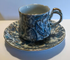 Lefton China Blue Paisley Cup & Saucer With Gold Trim