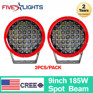 """2X 9"""" inch 185W LED Work Light Round Spot Driving Lamp SUV 4X4WD Offroad Truck"""