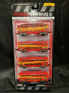 Power Trains Series 1 - Dragon Bullet - 4 Train Cars - New Sealed