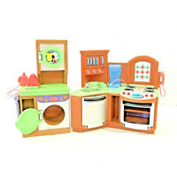 2 Fisher Price Loving Family Dollhouse Furniture Kitchen Stove Laundry Room