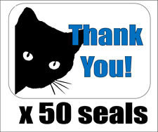 """50 Cat Face Silhouette Thank You! Envelope Seals / Labels / Stickers, 1"""" x 1.5"""""""