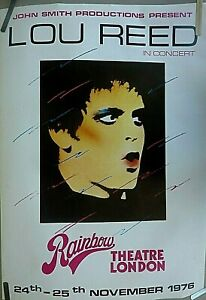 RARE LOU REED 1976 VINTAGE ORIG RAINBOW LONDON THEATRE CONCERT PROMO POSTER