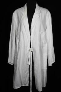 VERY RARE VINTAGE 1950'S-1960'S  FRENCH WHITE COTTON LAB COAT SIZE  LARGE