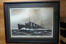 More details for h.m.s swift, original watercolour by m.k.barnett 1914 with postcard.