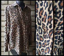 100% Silk Cheetah Leopard Print Swag Button Down Long Sleeve Blouse Shirt Medium