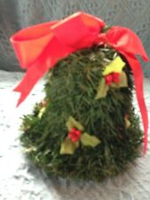 Vintage Topiary Christmas Bell With Holly Leaves And Berries