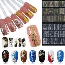12Pc/Set Pro 3D DIY Metallic Beauty Gold Silver 3D Nail Art Stickers Decals Flow