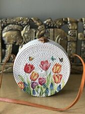 Authentic Bali Rattan Roundie Tulips Painted Sling Bag 20cm