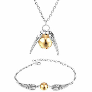 Harry Potter Golden Snitch Quidditch Silver Necklace Bracelet Jewellery Set Gift