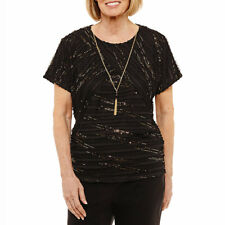 ALFRED DUNNER® XL Black & Gold Deck The Halls Necklace Top NWT $56