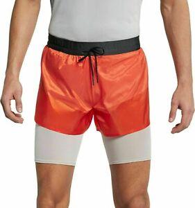 NEW Nike Tech Pack 2 in 1 Running Shorts Orange (AQ6442-891) Size XL