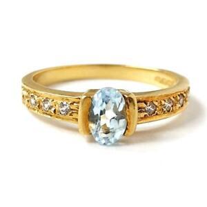 18ct Gold Topaz Ring Cubic Zirconia Stones Yellow 3.3g N 1/2 HALLMARKED