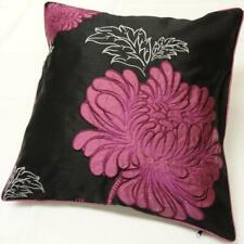 Black Fuchsia White Embroidered Floral Faux Silk OPERA Cushion Cover 45cm x 45cm