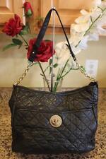 Isaac Mizrahi Black LAMBSKIN  Quilted Leather Hobo Shoulder Bag (PU160