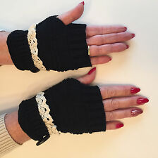 Women Fingerless Lace Knitted Gloves with Button Black