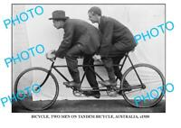 6 x 4 OLD PHOTO OF 2 MENS ON TANDEM BICYCLE c1930 AUST
