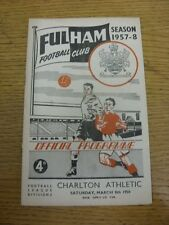 08/03/1958 V Charlton Athletic Fulham (plegado, arrugada). gracias por ver Thi
