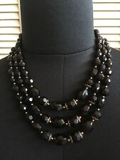 Forever 21 Multi Layered Beaded Chain Necklace Black/Gold NEW!