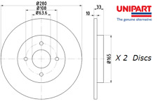 New Unipart Rear Brake Discs (Pair) For Ford Focus/Turnier ST170 OE 2M5V2A315AA