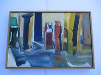 LARGE MYSTERY PAINTING VINTAGE ABSTRACT EXPRESSIONISM THAIBAUD ERA EXPRESSIONIST