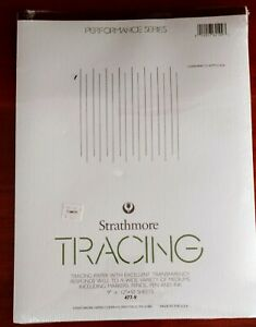 """Strathmore TRACING PAPER, 9"""" x 12""""  50 Sheets, White. EXCELLENT TRANSPARENCY"""