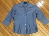 Foxcroft Women's Non Iron Fitted Fit 3/4 Sleeve Button Down Shirt Blouse Size 8P