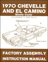CHEVELLE 1970 ASSEMBLY MANUAL BOOK RESTORATION SHOP MALIBU ELCAMINO MONTECARLO