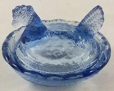 DARK TEAL BLUE GLASS HEN ON NEST CHICKENS OPEN SALT CELLAR SALT DIP