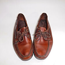 DEXTER Mens 12 Medium Boat Shoes Brown Leather Moc Toe 2 eye Slip On USA Dress