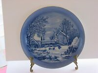 """CURRIER & IVES COLLECTOR PLATE 8"""" THE FARMERS HOME WINTER, BLUE, JAPAN"""