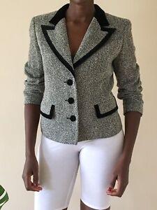 Ascot Mascagni Vintage Blazer wool Uk size 8-10 Grey and Black Smart