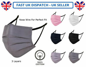 Adults Unisex Cotton Face Mask Mouth Protection Washable Reusable Nose Wire