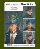 Mens Hats Sewing Pattern~Top Hat, Steampunk & More! (Sizes S-L) Simplicity 8713