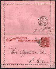 286 CHILE PS STATIONERY POSTAL CARD 1895 SAN F. DE LIMACHE - SAN FELIPE