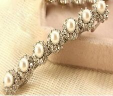 Fake Crystal Pearl Diamante Hair Clip Pin Grip Wedding Bride Bridesmaid Slide
