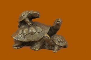 Original Mother Turtle with Baby hatchling Bronze Sculpture Reptile Sea Statue
