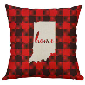 red black buffalo check plaid states map throw Pillow case Home Cushion cover