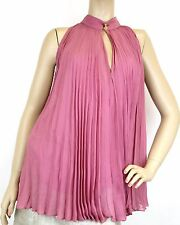 $895 NEW Authentic Gucci Womens Silk Pleated Halter Top w/Buttons, 38, 307275