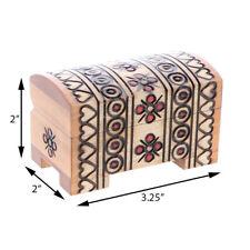Treasure Chest Small Wooden Trinket Jewelry Box Intricate Design Keepsake Chest