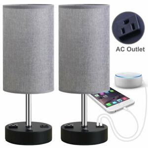 Bedside Table Lamp Nightstand Lamps Dual USB Charging Ports & AC Outlet Set Of 2