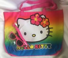 Hello Kitty By Sanrio Hawaiian Rainbow Large Tote Beach Bag With Sunglasses-New