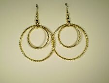 Earrings Round Wire Gold Plated No Stone Drop 3 3/4 in. Handmade GB USA New WOT