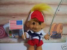 """CAMP BOY w/AMERICAN FLAG - 5"""" Russ Troll Doll  - NEW w/FLAW"""