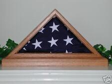 US AMERICAN SOLID LIGHT OAK 3X5 W BASE FLAG DISPLAY CASE