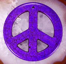 54mm Purple Howlite Turquoise Gemstone Carved Peace Filigree Pendant 3pcs